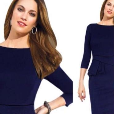 海外インポートブルーボートネックデザインミディ丈ワンピースドレス青色長袖