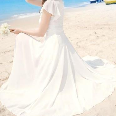 レディース 海外 インポート ホワイト フリル シフォン マキシ ワンピース ドレス ロング 白