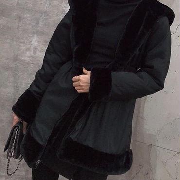 レディース リバーシブル ふわふわ エコ ファー フード 付き コート アウター 黒
