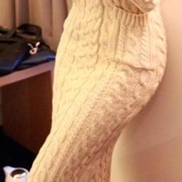 海外 インポート オフ ホワイト タートル ニット マキシ ワンピース ドレス ロング