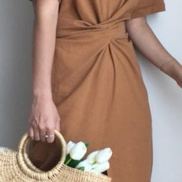 レディース 海外 インポート ブラウン シンプル ミディ 膝下 丈 ワンピース ドレス