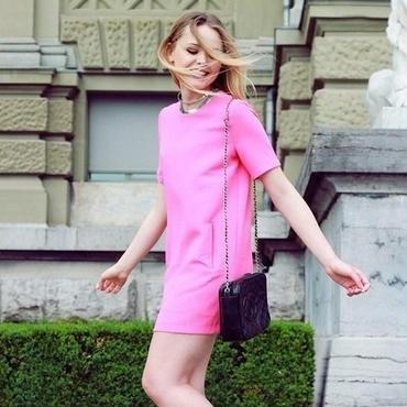 海外インポートセレクトサーモンピンクミニワンピースドレス
