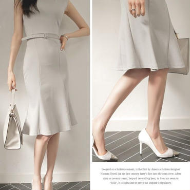 レディース 海外 インポート アイス グレー ベルト 付き ワンピース ドレス