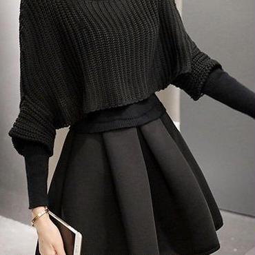 海外 インポート ブラック ニット フレア スカート ポンチョ セーター 付 セットアップ ワンピース 長袖