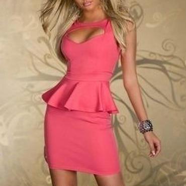 海外インポートセレクトピンクぺプラムデザイン胸あきセクシーワンピースドレス