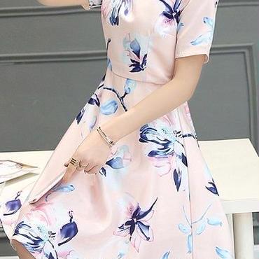 海外インポートセレクトベビーピンクフラワーフェミニンワンピースパーティードレス花柄