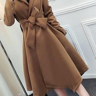 レディース ブラウン フレア 腰ひも ベルト 付き アシメントリー ドレス コート アウター