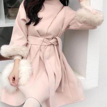 レディース ピンク ベージュ 袖 ファー 付き 腰ひも ベルト 付き フレア ワンピース ドレス