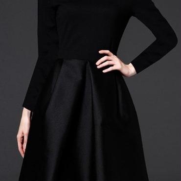 レディース ブラック フォーマル ワンピース パーティー ドレス 黒 長袖