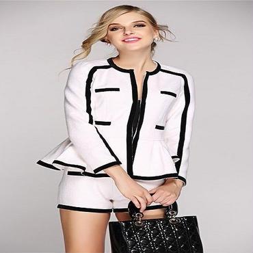 海外インポートセレクトバイカラーホワイトブラックフリルジャケットパンツスーツ