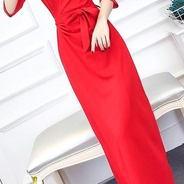 レディース レッド カシュクール ラップ 腰ひも ベルト 付き マキシ ワンピース ドレス ロング 丈 赤
