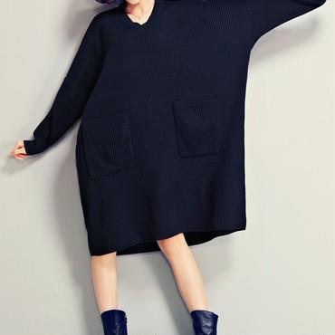 レディース ざっくり 大きめ ニット セーター ワンピース 長袖 紺色 F