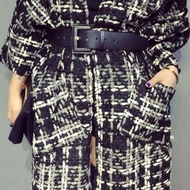 海外 インポート セレクト ブラック チェック ガウン ベルト付 デザイン コート