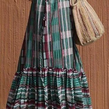 レディース 海外 インポート グリーン ピンク チェック 柄 キャミソール マキシ ワンピース ドレス ロング