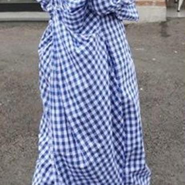 レディース 海外 インポート ブルー ホワイト ギンガム チェック 柄 コットン 背中 あき マキシ ワンピース ドレス ロング 丈