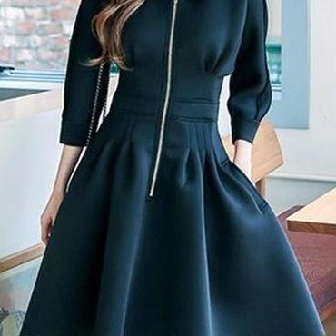 レディース ブラック ジップ フィット フレア ワンピース パーティー ドレス 黒
