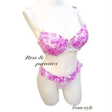 紫シフォン薔薇柄♡ブラ&ショーツ☆限定品 ショーツLLサイズ
