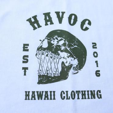 HAVOC HAWAII CLOTHING    SKULL   Tshirts ホワイト/グリーン
