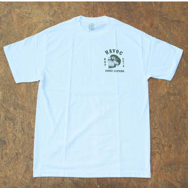 HAVOC HAWAII CLOTHING    スカルT-shirts ホワイト/グリーン