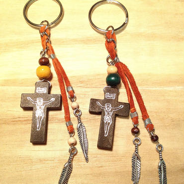 wood cloth keyring▲▼2color▼▲