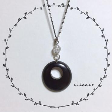 天然石水晶と🌳woodのペンダント エボニー