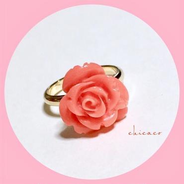 🌹薔薇彫刻コーラルピンク珊瑚のリング