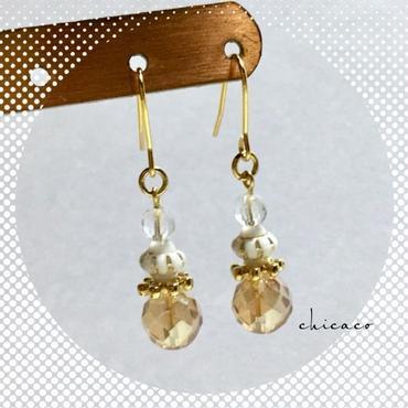 天然石水晶クリスタルのピアス/イヤリング