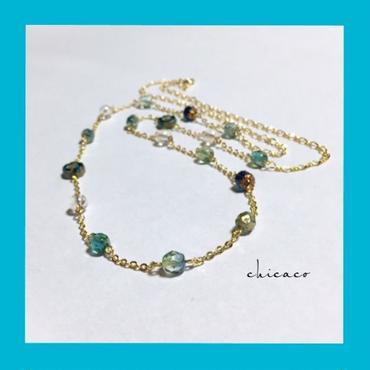 天然石水晶アクアクリスタル&チェコガラスのロングネックレス