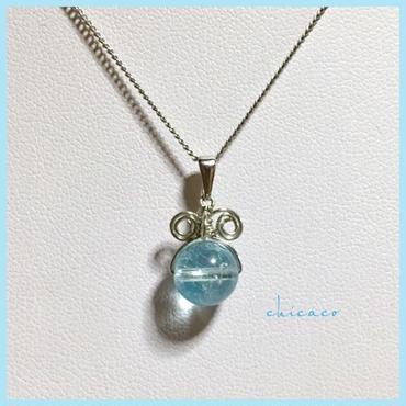 宝石質天然石スカイブルートパーズのペンダントネックレス