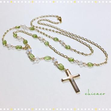 宝石質ペリドットの✞ロザリオ風ネックレス