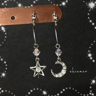 🌙ムーン⭐️スター ピアス/イヤリング silver