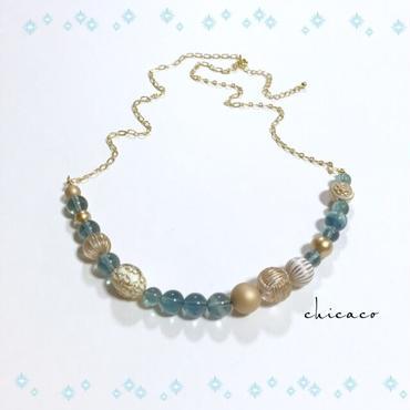 高品質ブルーグリーンフローライトのネックレス