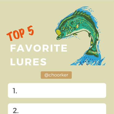 "STORY TEMPLATE ""TOP FIVE FAVORITE LURES"""