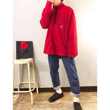 """1990's~ """"POLO JEANS"""" ポロジーンズ レッド ハーフジップ フリースジャケット / 古着 ビンテージ"""