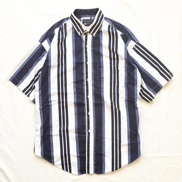 1980's~ USA製 ボタンダウン ストライプ柄 半袖シャツ / 古着 ビンテージ