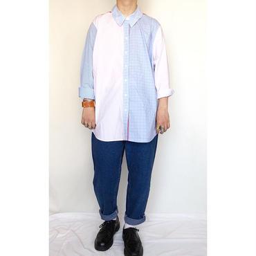 チェック柄×ストライプ柄 クレイジーパターン 長袖シャツ / 古着 ビンテージ