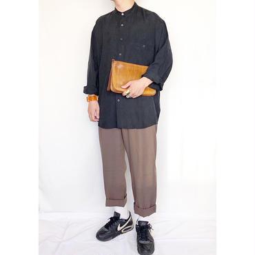 バンドカラー ブラック シルク 長袖シャツ / 古着 ビンテージ