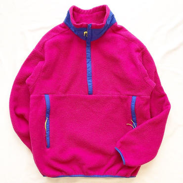 1980's~ USA製 REI レイ ハーフジップ フリースジャケット ピンク×ブルー/古着 ビンテージ