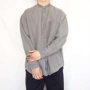 グレー バンドカラー 長袖シャツ/古着 ビンテージ ノーカラー