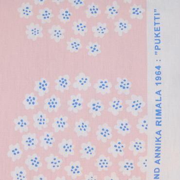 マリメッコ marimekko <Puketti>コーティング・コットン・ファブリック(ピンク×ホワイト)50cm 日本未入荷