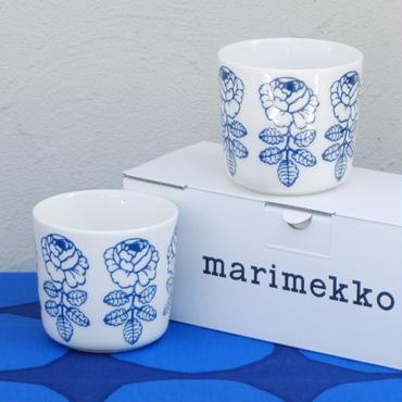マリメッコ marimekko <Vihkiruusu>コーヒーカップ2個セット(ブルーライン)日本限定