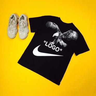 ナイキ × OFF-WHITE(オフホワイト) ◆Nike × Off White ロゴT Tシャツ 半袖 春夏 男女兼用 2色 早い者勝ち!