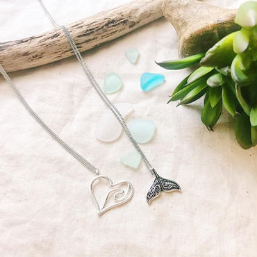 Heart wave & design  tail necklace 💎