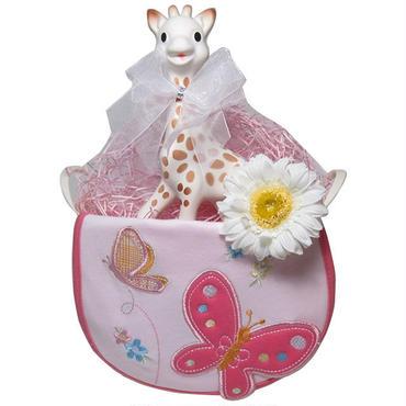 出産祝い/キリンのソフィー(並行輸入品)とキュートなスタイのギフトセット・リボンラッピング付き(女の子用)