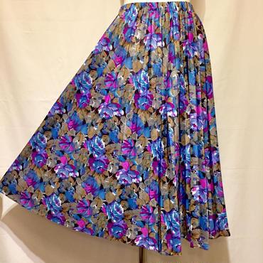 アコーディオンプリーツ花柄スカート(1970s U.S.A)