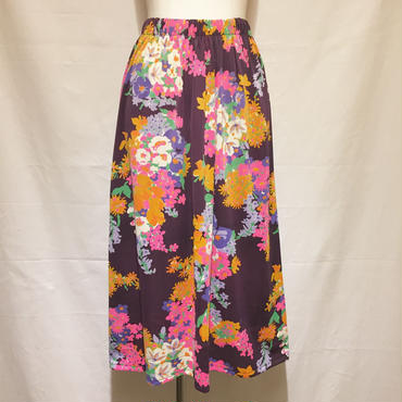 ダークボルドー花柄スカート(1970s France)