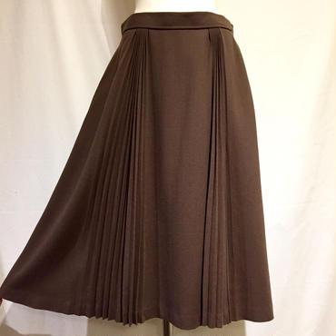 WOOLブラウン・プリーツスカート(1970s France デッドストック)