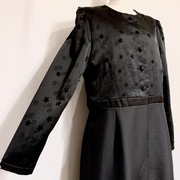 ブラックフラワー・ドレスコート(1980s France デッドストック)
