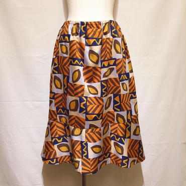 オレンジxネイビー柄スカート(1970s Italy)