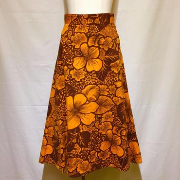 オレンジx茶ロングラップスカート(1970s Italy)